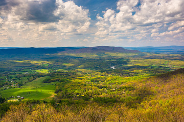 Spring view of the Shenandoah Valley from Skyline Drive in Shena