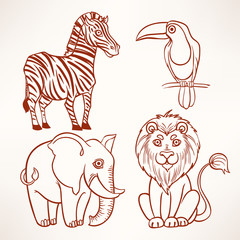 jungle sketch animals