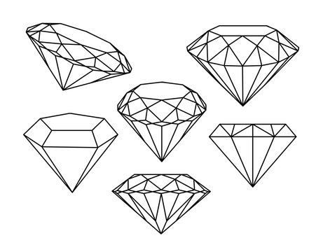 Set of diamonds icons. Vector illustration.