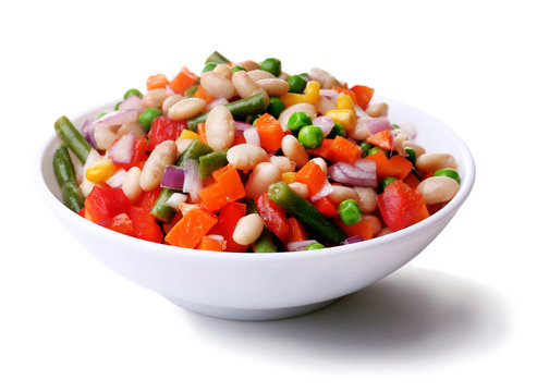 Healthy beans salad isolated on white