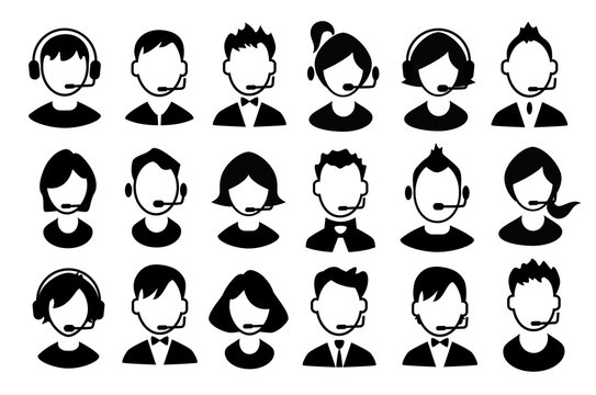 Set of boys and girls operator icons. Vector.