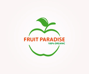 Vector logo design element. Apple, fruit, eco