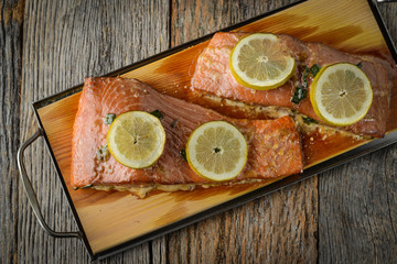 Grilled Salmon cooked on a Cedar Plank
