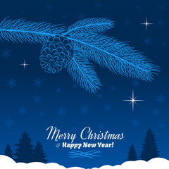 Christmas Tree Branch with Pine Cone in Blue