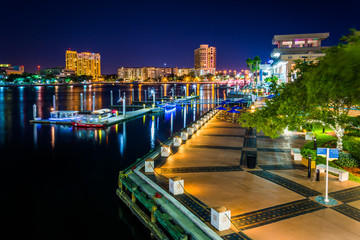 View of the Riverwalk at night in Tampa, Florida.