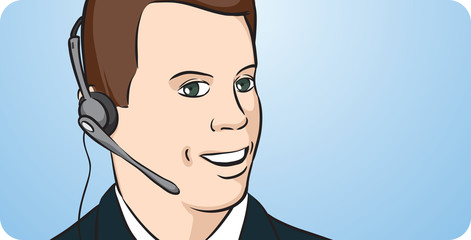Businessman smiling with headset