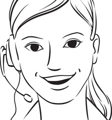 whiteboard drawing - customer support blond woman smiling with h