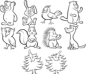 Coloring book cute cartoon forest animals