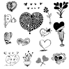 heart shape in drawing sketch vector illustration