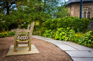 Bench in the Bishop's Garden at Washington National Cathedral, i