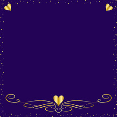 A Purple  Elegant Background With Gold Hearts and Trim
