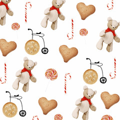 Toy bears, candies and cookies as holiday background