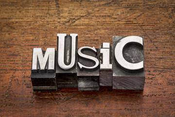 music word in metal type