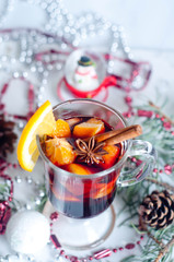 Hot red mulled wine isolated on white background
