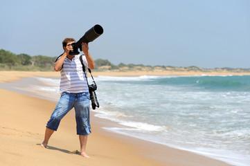 Photographer taking photos at the beach