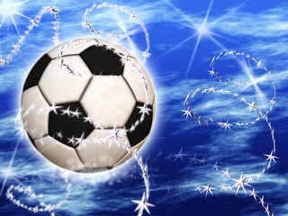 Soccer Ball in the blue starry sky