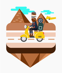 Hipster riding a scooter near Egypt pyramid scene. flat design