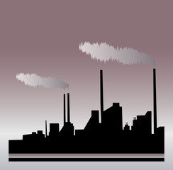 Silhouette metallurgical plant. Vector illustration.