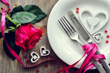 Fototapeta Saint Valentines's Day  festive romantic table setting and rose obraz