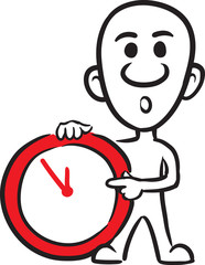 doodle small person - pointing at clock