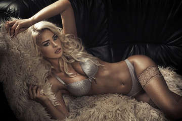 Sensual blond lady wearing sexy lingerie