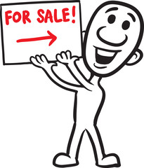 doodle small person - holding sign for sale