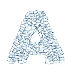 a lettera diamanti cristalli gemme 3d, sfondo bianco