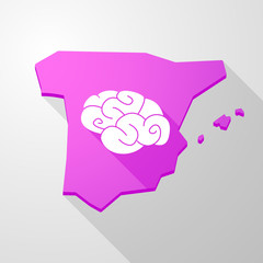 Spain map icon with a brain