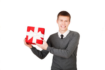 bright picture of handsome man with a christmas gift