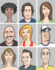 smiling people faces collection