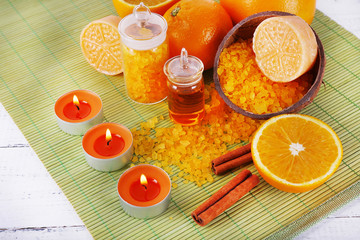 Accessories for massage therapy with candle light