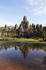 Angkor Temple of Bayon with Reflection