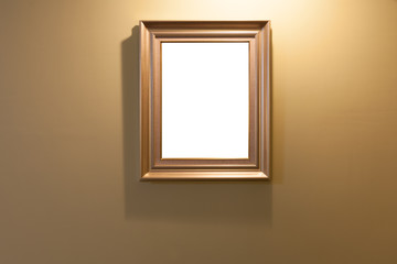 Wooden frame on lighting wall with isolated area