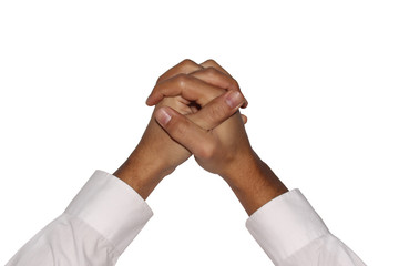 Clasping male hands on a white background