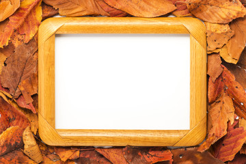 Empty wooden frame.Copy space your message.