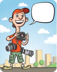 Funny cartoon photographer