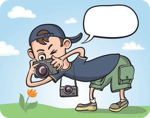 Funny Photographer Making Macro Photography