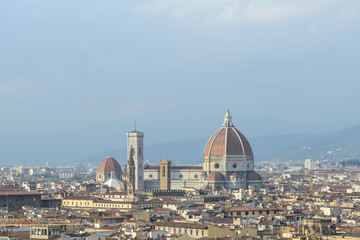 Cityscape of Florence, Italy, with the Cathedral and bell tower