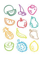 Fruits Minimalist Vector Sketch