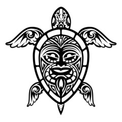 Close up Vector Turtle Polynesian Tattoo