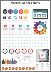 Big pack of vector infographics and design elements