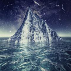 Alone iceberg in the ocean under beauty northern skies