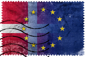Denmark and European Union Flag - old postage stamp