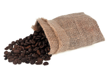 Canvas Prints Coffee beans Sac de café en grain renversé
