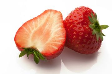 sliced strawberrys on white