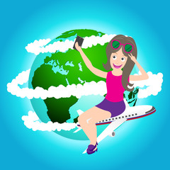 travel girl sitting on airplane and taking selfie,map by NASA