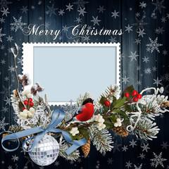 Christmas greeting card with frame