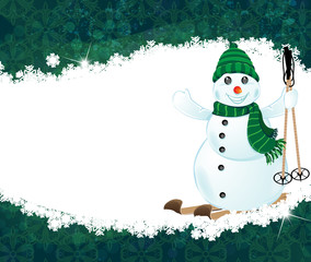 Snowman on skis