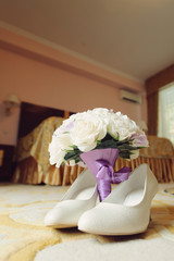 White Shoes and Rose Bouquet