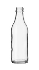 Clear Glass Bottle no Cap isolated on white background